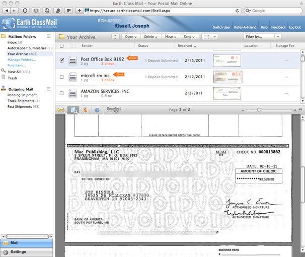 Electronic check depositing
