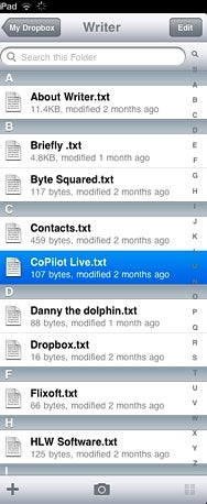 iPad Dropbox app