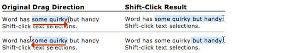 Word Shift-click