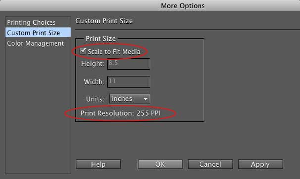 resolution and paper size