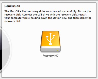 Lion Recovery Disk Assistant completed