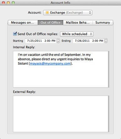 Apple mail out of office