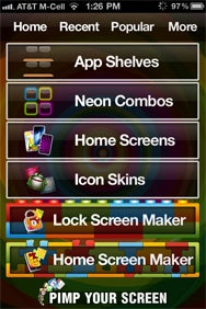 Options Abound You Can Find Wallpapers In Four Categories Pimp Your Screen The Lock And Home Maker Let Overlay Shelves