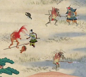 A close up of the battle scenes in Samurai Blood Show.