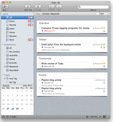 Todo for Mac main window