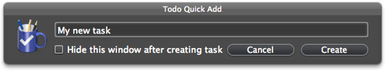 Todo for Mac quick-entry window