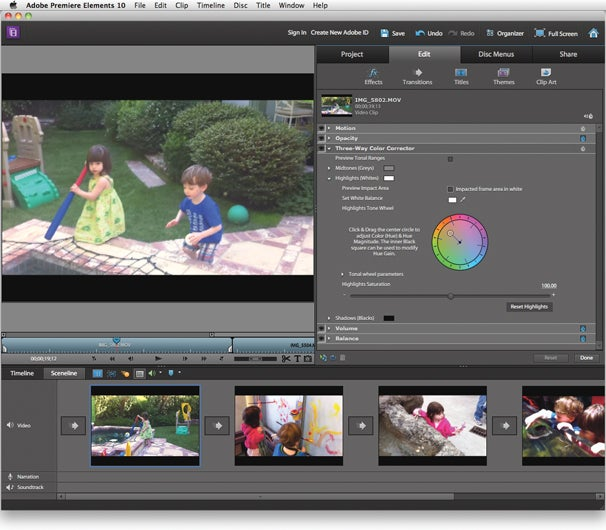 Premiere Elements' Three Way Color Corrector lets you make adjustments to specific areas of your image, using shadows, midtones, and highlights.