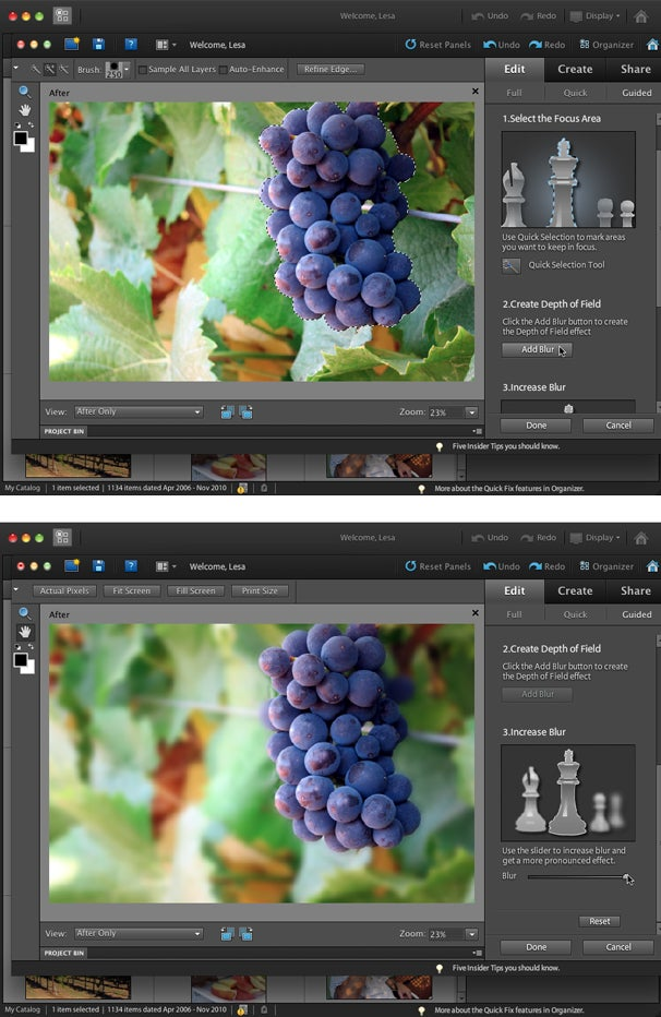 Among the new Guided Edits is a handy Depth of Field tutorial, which includes a simple and advanced mode for setting your focal point.