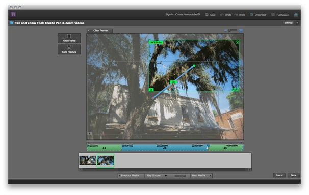 iPhoto has long had the Ken Burns Effect, but if you're really in love with pan and zoom—and putting photos into motion—Premiere Elements 10's motion controls give you extensive options for keyframing effects.