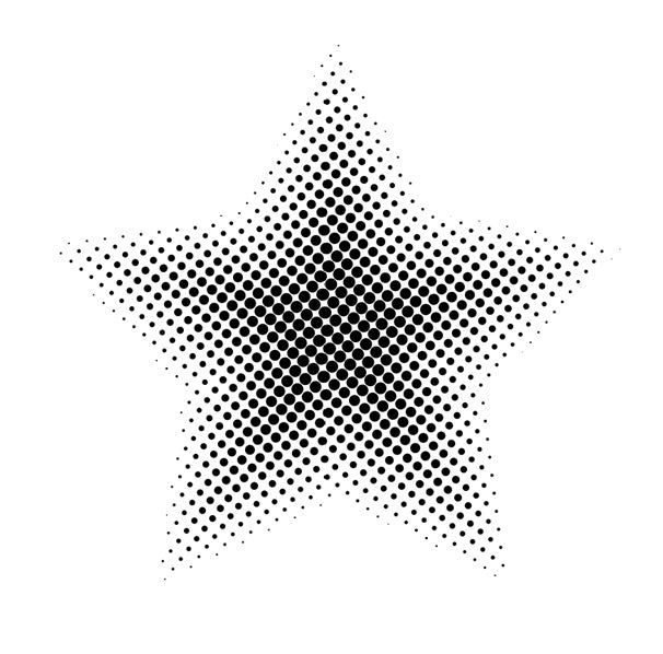 Applying the Color Halftone filter changes your object to a black-and-white halftone—but for the moment, it's a bitmap.