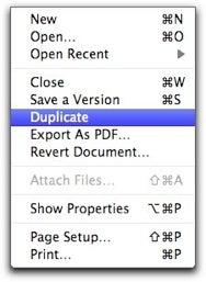 Duplicate menu