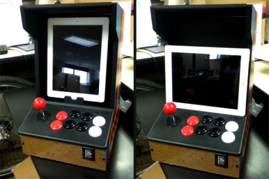While an iPad fits nicely inside the iCade's frame in portrait orientation, it rests in front in landscape mode.