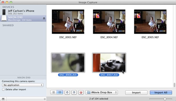 Use Image Capture to import movies directly to iMovie.