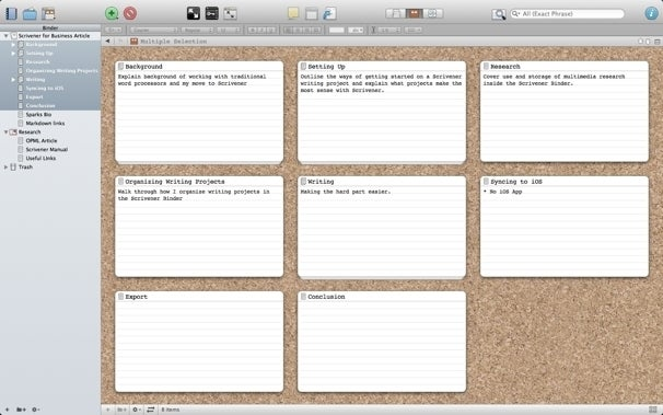 Scrivener note card view