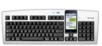 The standard Matias One Keyboard has a blue button that activates iPhone use.