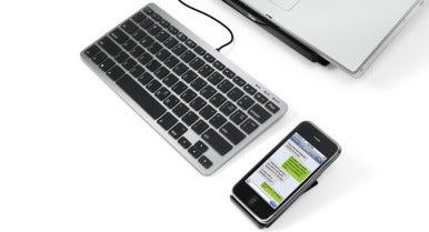 The Matias Slim One Keyboard is smaller with a detached iPhone stand.