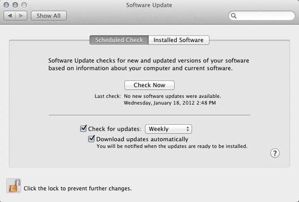 The Software Update System Preference Is Same In Lion And Snow Leopard Except Version Above Has A Lock To Prevent Changes