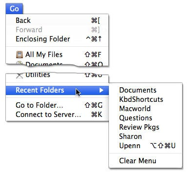 Recent folders