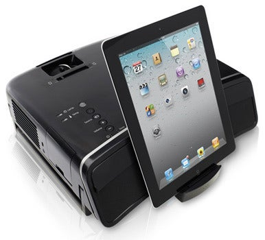 Epson megaplex mg 850hd projector sports iphone dock macworld for Mobile projector for ipad