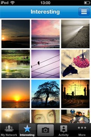 Picplz's Interesting section gives you a feed of popular photos from other Picplz users.