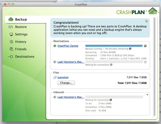 CrashPlan's desktop app shows you the progress of your backup. You can also restore files straight from the app.