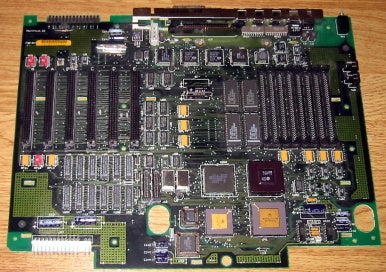 Six NuBus slots are visible on the left side of this Macintosh II motherboard.