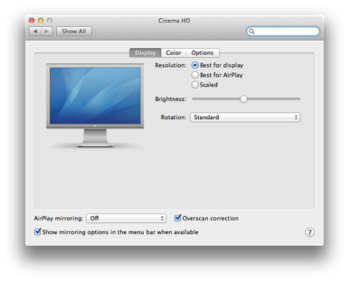 AirPlay options