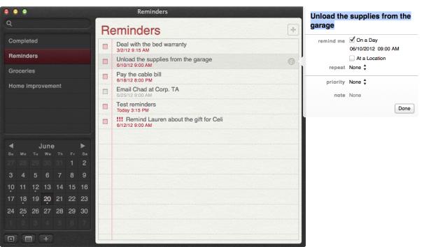 Editing Reminders