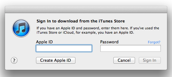 sign in to download from the itunes store