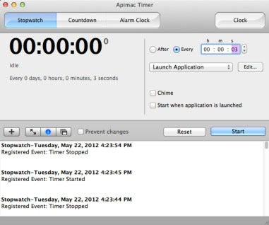 Hide or display all of Timer Pro's events by clicking the Info button (shown in blue).