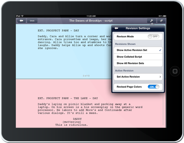 john august screenwriting app for iphone