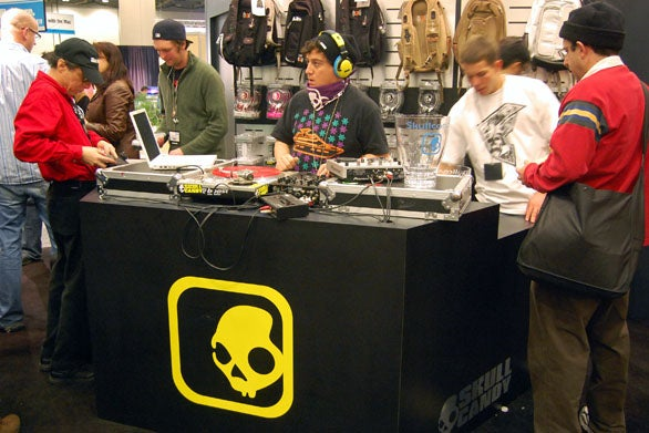 The Scull Candy booth had a live DJ.