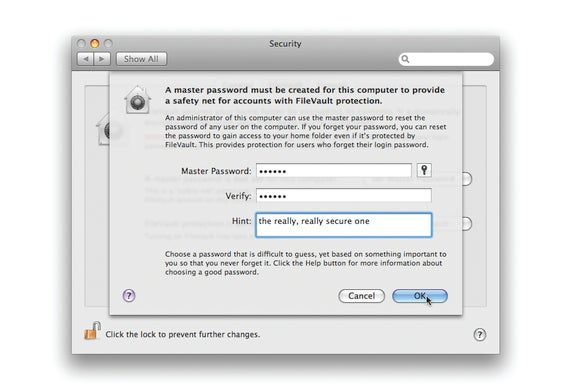 FileVault password