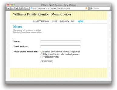 add iWeb form