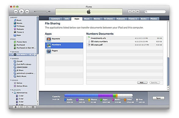 File sharing in iTunes 9.1