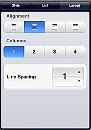 Pages text style menu
