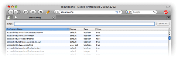 Firefox 3 config screen1