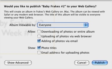 iPhoto Web Gallery setup