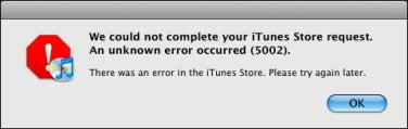 iTunes 5002 error