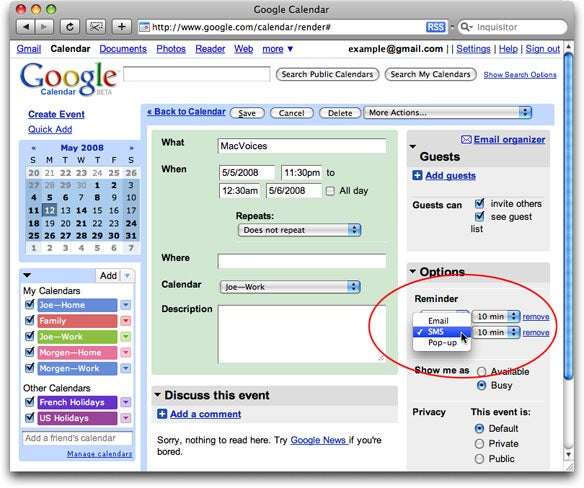 Google Calendar alerts