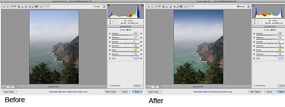 Before and after camera raw's graduated filter