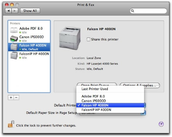 Determine the default printer