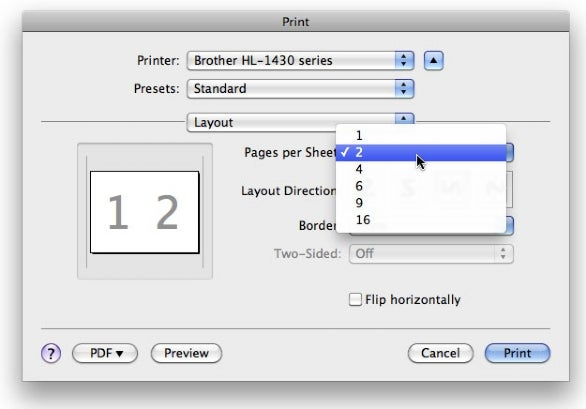 Print layout options