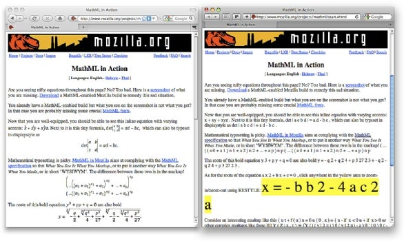Firefox versus Safari with equations