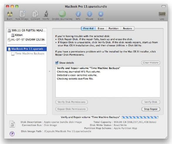Repair disk images with Disk Utility