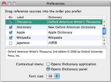 References preferences