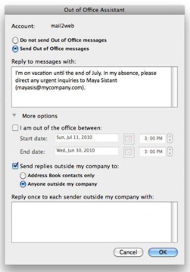 Out-of-office replies
