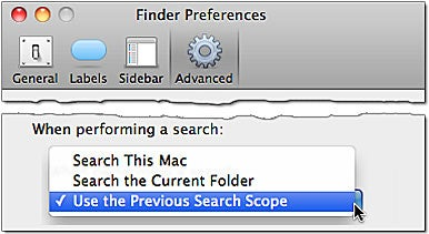 Search scope defaults