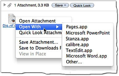 Open Mail attachments