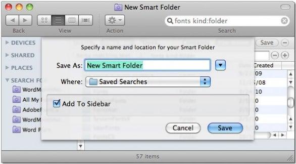 Saving smart folders